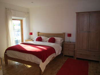 Sunny bedroom in red